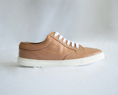 Women s leather sneakers 90s tan thumb