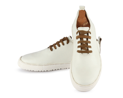 Men s singlecut leather sneaker white thumb
