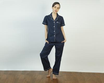 Vintage navy pajama set thumb