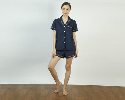 Vintage navy shorts set thumb