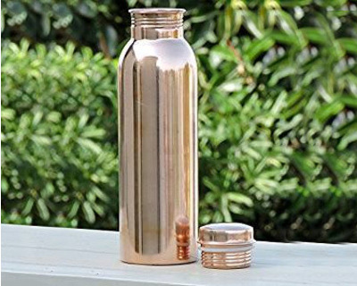Rose gold copper water bottles gloss finish thumb