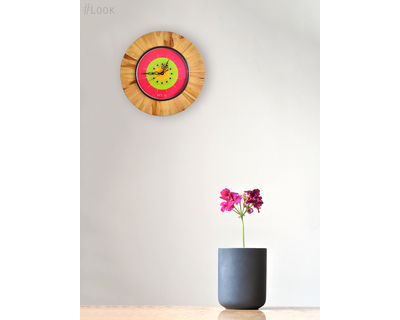 Pink kiwifruit wooden wall clock studio enoy thumb