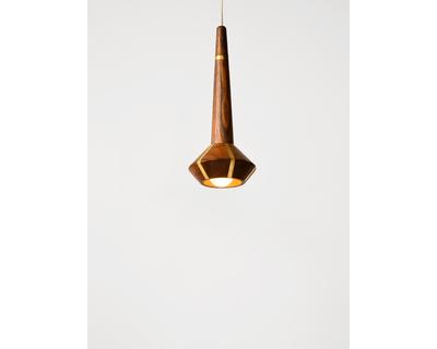Streaked wooden pendant lamp thumb