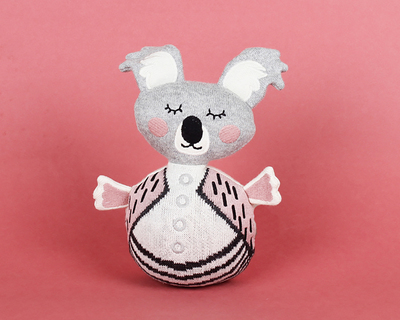 Rolly polly knitted cotton toy rattle thumb