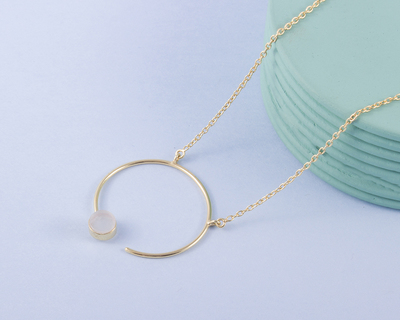 Meraki moonstone gold plated necklace thumb