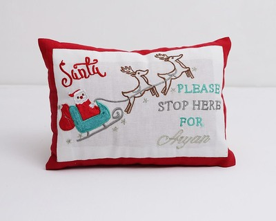 Santa stop here pillow thumb