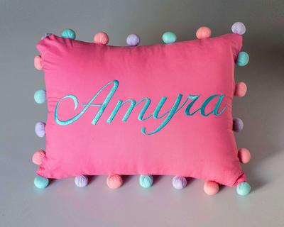 Pom pom pillow girl thumb