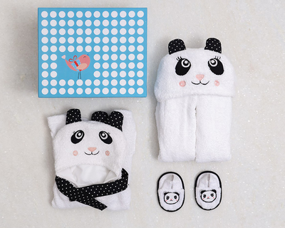 Spa time new born gift set with hooded towel panda thumb