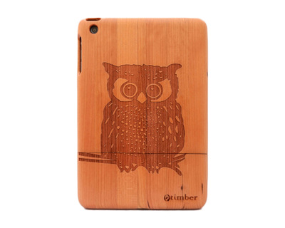 Owl engraved cherry ipad mini wood case thumb