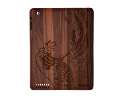 Wave engraved walnut ipad wood case thumb