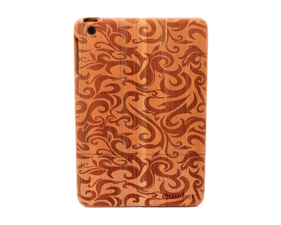 Art engraved cherry ipad mini wood case thumb