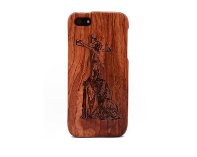 Apple iphone 5 5s rose wood case jesus thumb