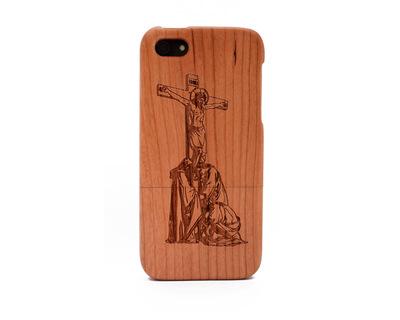 Apple iphone 5 5s cherry wood case jesus thumb