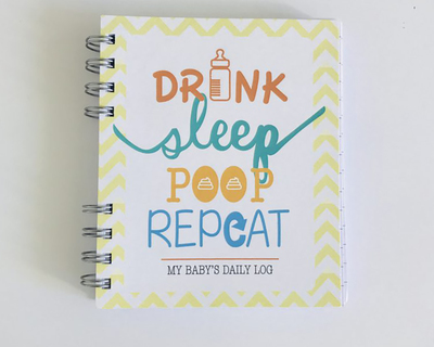 Drink sleep poop baby log book thumb