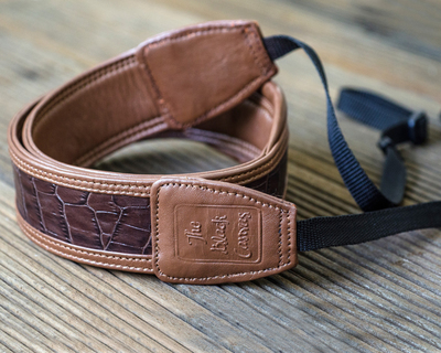 Earthy brown dslr leather camera strap thumb