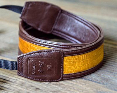 Mellow yellow dslr leather camera strap thumb