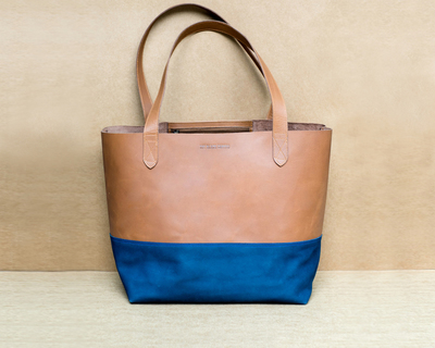 Tan brown navy blue large leather tote bag thumb