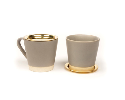 Basik tea cups grey x 2 thumb