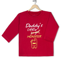 Daddy s little monster organic cotton tee for toddlers small