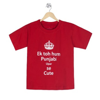 Ek toh hum punjabi upar se cute organic cotton tee for toddlers small