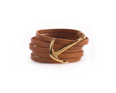 Wrap around tan gold leather bracelet thumb