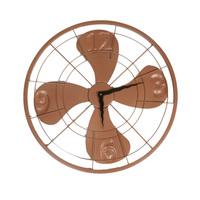 Metal fan wall clock brown small