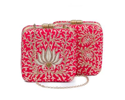 Mystique lotus box clutch red thumb