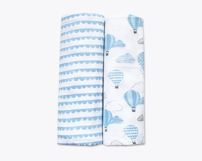 Up up away blue organic muslin swaddles pack of 2 thumb