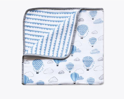 Up up away blue organic muslin snuggle blanket thumb