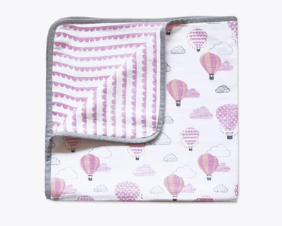 Up up away pink organic muslin snuggle blanket thumb