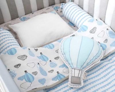 Organic cot bedding set up up away blue thumb