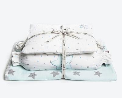 Sleepy star new baby mini cot set blue thumb