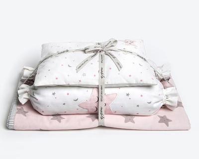 Sleepy star new baby mini cot set pink thumb