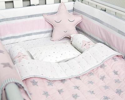Sleepy star organic cot bedding set pink thumb