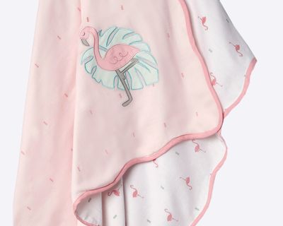 Hello flamingo organic dohar blanket thumb