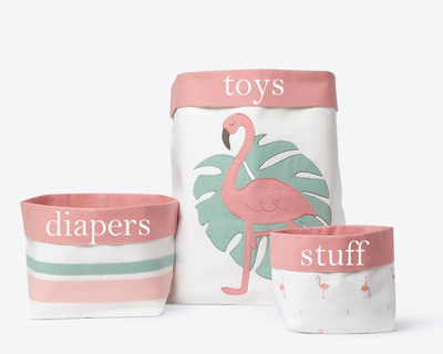 Hello flamingo fabric storage baskets thumb