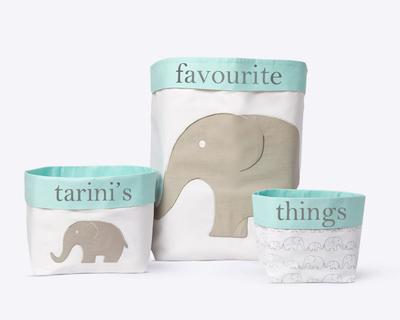 Elephant parade fabric storage baskets thumb