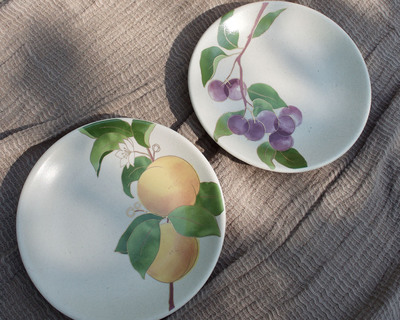 Postcards from simla plum apricot appetizer plates set of 6 thumb