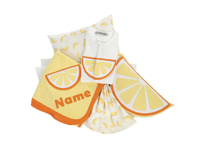 Personalized citrus theme cot bedding set and sleepsuit thumb