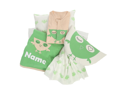 Personalized owl theme cot bedding set and sleepsuit thumb