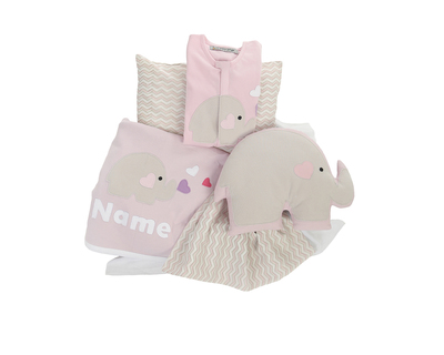 Personalized elephant theme cot bedding set and sleepsuit 6 ss17 lif nur bed4 1 thumb