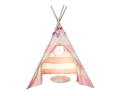 Striped pretend play tee pee with matching bunting and cushion thumb