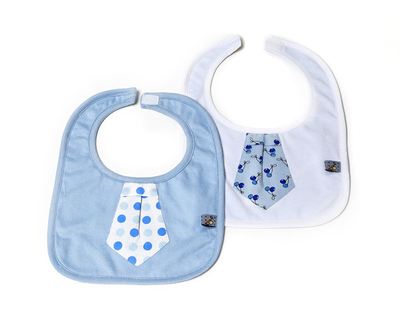 Set of 2 bibs blue tie thumb
