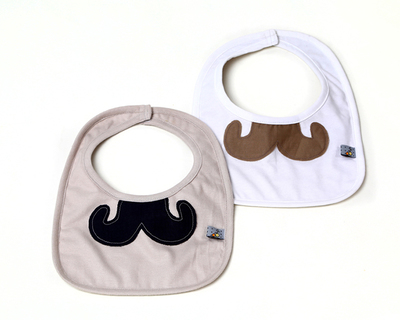 Set of 2 bibs white and beige moustache thumb