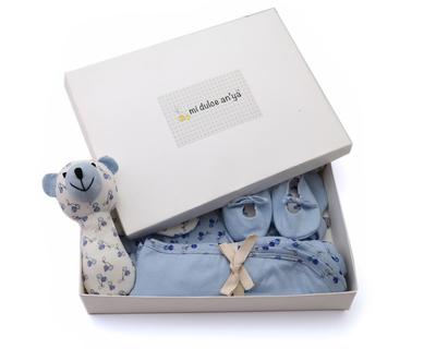 Baby gift set blanket onesie rattle mittens cap shoes blue midulceanya 224 master thumb