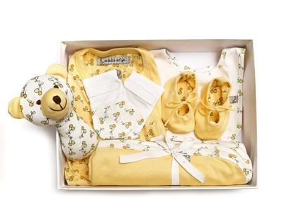 Baby gift set blanket onesie rattle mittens cap shoes yellow thumb