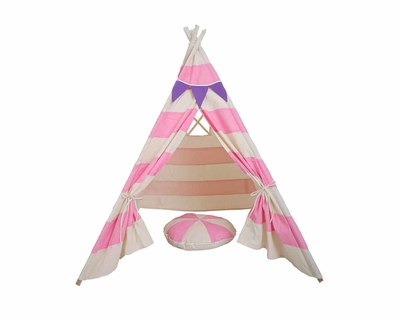 Pretend play tee pee with matching cushion pink stripes thumb