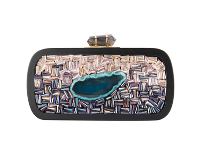 Black rounded jewel tone clutch 2 thumb