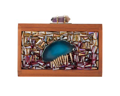 Puzzle walnut jewel tone clutch 3 thumb