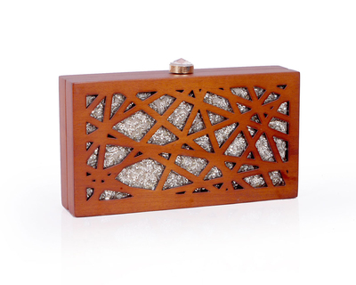 Cut it out rectangle clutch natural wood thumb